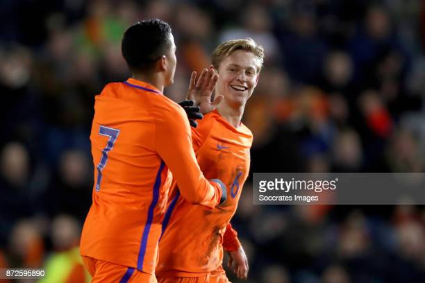 Justin Kluivert of Holland U21 celebrates 80 with Frenkie de Jong of Holland U21 during the match between Holland U21 v Andorra U21 at the De...
