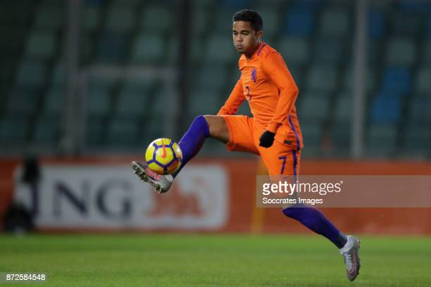 Justin Kluivert of Holland U21 during the match between Holland U21 v Andorra U21 at the De Vijverberg on November 10 2017 in Doetinchem Netherlands