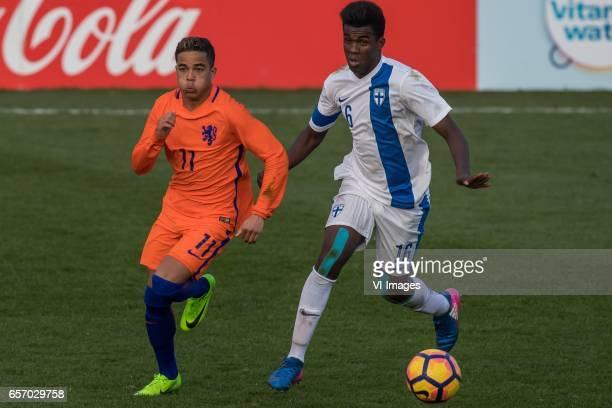 Justin Kluivert of Netherlands U19 Abukar Mohamed of Finland U19during the UEFA EURO 2017 qualifying match between Netherlands U19 and Finland U19 on...