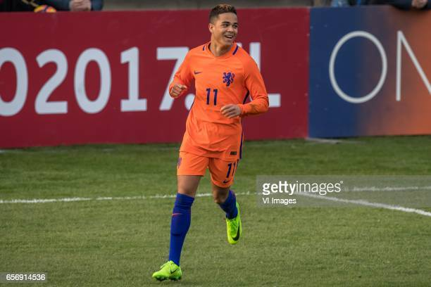 Justin Kluivert of Netherlands U19 celebrate his goalduring the UEFA EURO 2017 qualifying match between Netherlands U19 and Finland U19 on March 23...
