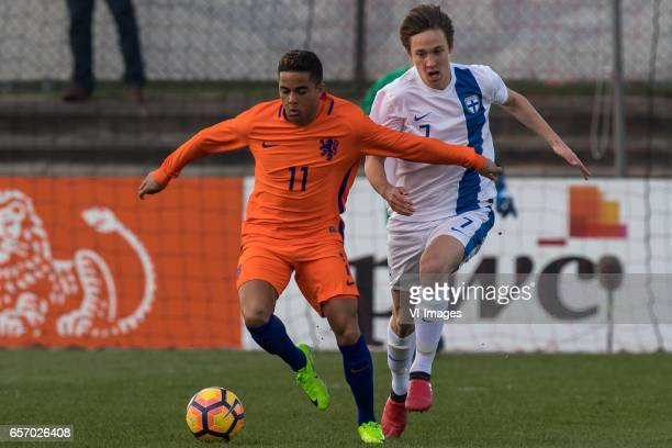 Justin Kluivert of Netherlands U19 Lassi Lappalainen of Finland U19during the UEFA EURO 2017 qualifying match between Netherlands U19 and Finland U19...