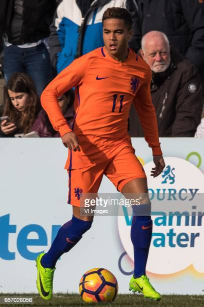 Justin Kluivert of Netherlands U19during the UEFA EURO 2017 qualifying match between Netherlands U19 and Finland U19 on March 23 2017 at Sportpark...