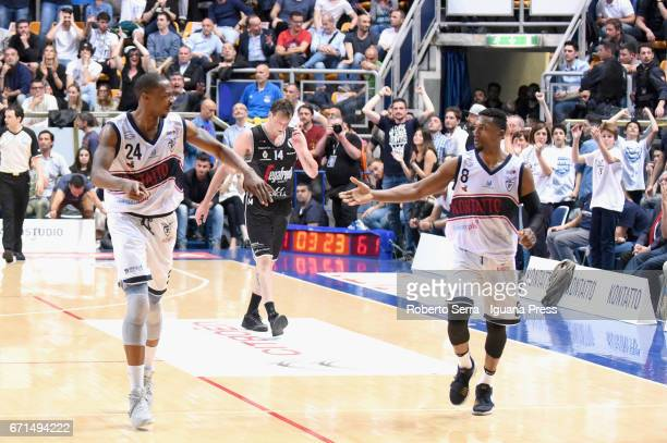 Justin Knox andAlexLegion of Kontatto celebrates during the LegaBasket LNP of serie A2 match between Fortitudo Kontatto Bologna and Virtus Segafredo...