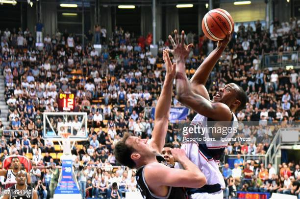 Justin Knox of Kontatto competes with Guido Rosselli of Segafredo during the LegaBasket LNP of serie A2 match between Fortitudo Kontatto Bologna and...