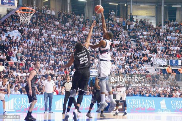 Justin Knox of Kontatto competes with Kenny Lawson of Segafredo during the LegaBasket LNP of serie A2 match between Fortitudo Kontatto Bologna and...