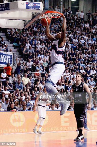 Justin Knox of Kontatto competes with Lorenzo Penna of Segafredo during the LegaBasket LNP of serie A2 match between Fortitudo Kontatto Bologna and...