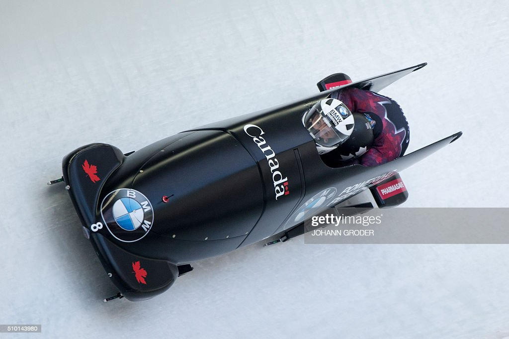 Justin Kripps and Alexander Kopacz of Canada compete during the third run of the two-men Bobsleigh event of the Bobsleigh and Skeleton World Championships in Innsbruck/Igls, Austria, February 14, 2016. / AFP / APA / Johann Groder / Austria OUT