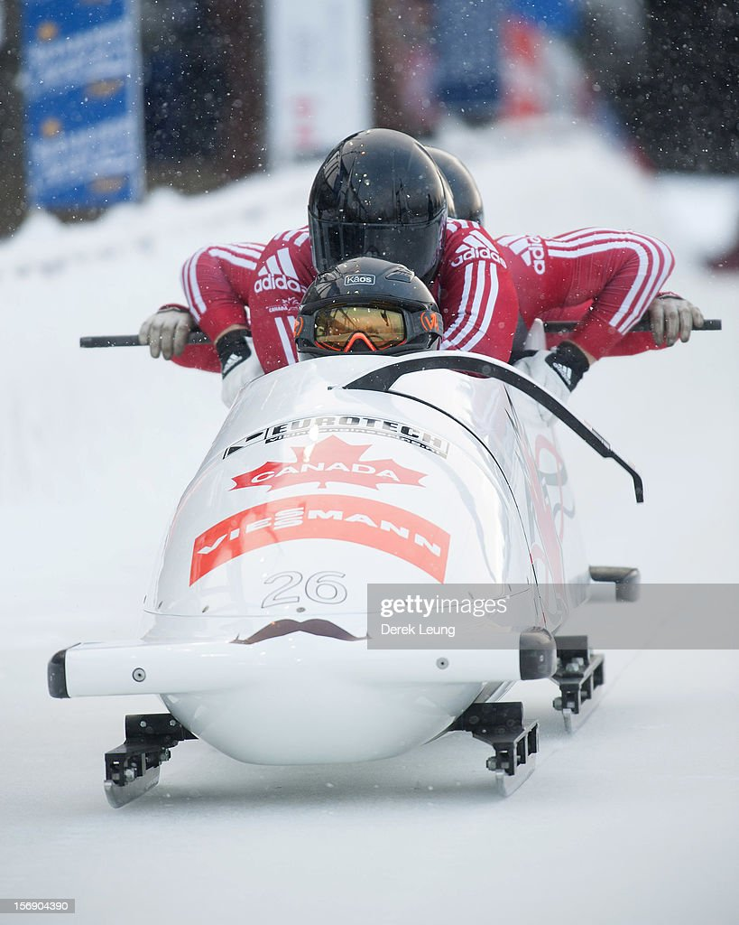 Justin Kripps, Jean-Nicolas Carriere, Luke Demetre and Cody Sorensen of Canada 3 compete in the four-man bobsleigh on day 2 of the IBSF 2012 Bobsleigh and Skeleton World Cup on November 24, 2012 at the Whistler Sliding Centre in Whistler, British Columbia, Canada.
