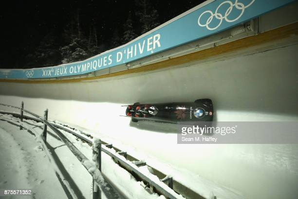 Justin Kripps Lascelles Brown Ben Coakwell and Neville Wright of Canada compete in the 4Man Bobsled during the BMW IBSF Bobsleigh and Skeleton World...