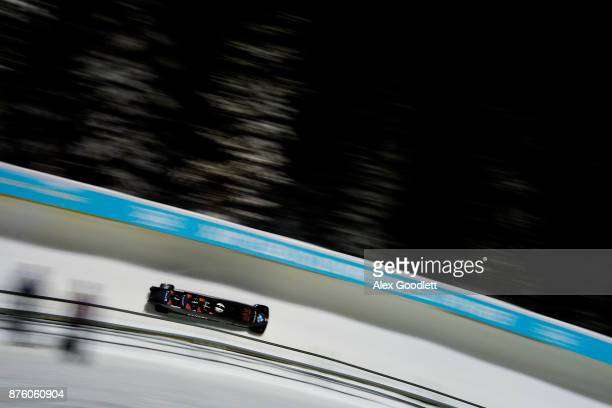 Justin Kripps Lascelles Brown Ben Coakwell and Neville Wright of Canada compete in the Men's 4man Bobsleigh during the BMW IBSF Bobsleigh and...