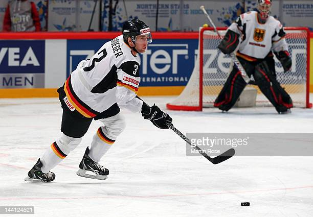Justin Krueger of Germany skates against Sweden during the IIHF World Championship group S match between Sweden and Germany at Ericsson Globe on May...