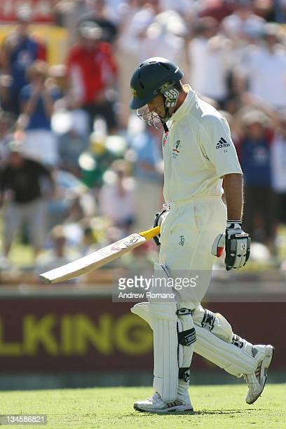 Justin Langer after his play during the 3 Ashes Third Test Second Day at the WACA Ground in Perth Australia on December 15 2005