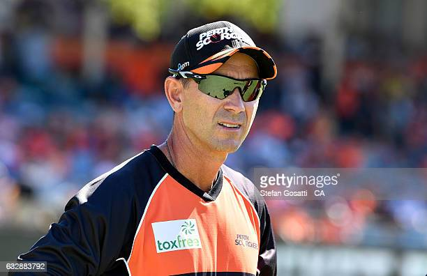Justin Langer coach of the Scorchers looks on before the Big Bash League match between the Perth Scorchers and the Sydney Sixers at WACA on January...