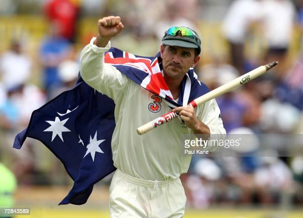 Justin Langer of Australia celebrates after Australia's victory on day five of the third Ashes Test Match between Australia and England at the WACA...