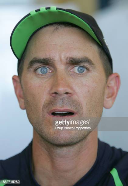 Justin Langer of Australia talks to the press after a training session at Northgate Playing fields Brisbane Australia before the 1st Test match...