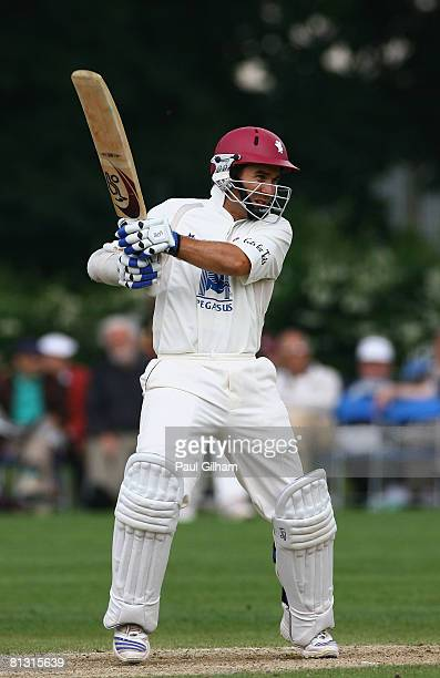 Justin Langer of Somerset hits out during day two of the LV County Championship match between Surrey and Somerset at Whitgift School on May 31 2008...