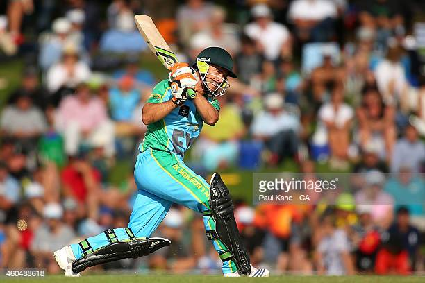 Justin Langer of the Legends XI bats during the Twenty20 match between the Perth Scorchers and Australian Legends at Aquinas College on December 15...
