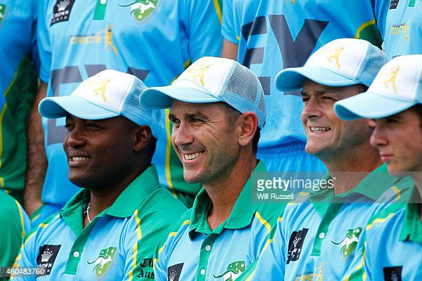 Justin Langer poses for the Legends XI team photo during the Twenty20 match between the Perth Scorchers and Australian Legends at Aquinas College on...