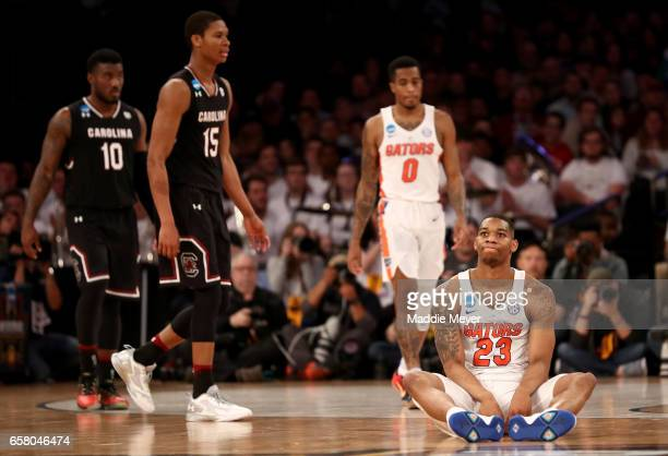 Justin Leon of the Florida Gators reacts from the ground after a play in the second half against the South Carolina Gamecocks during the 2017 NCAA...