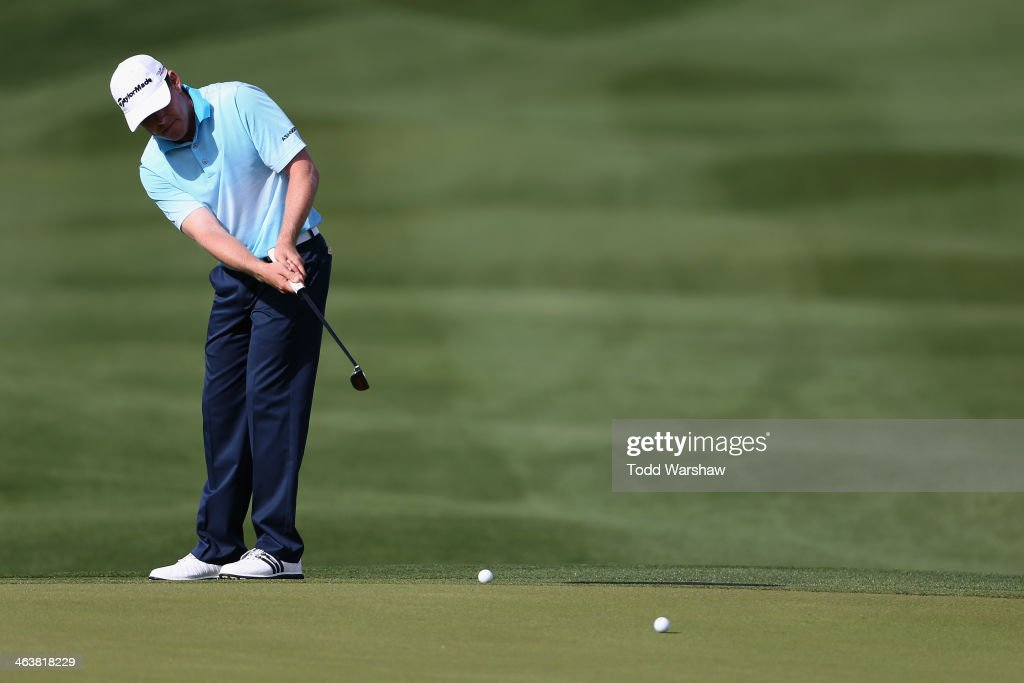<a gi-track='captionPersonalityLinkClicked' href=/galleries/search?phrase=Justin+Leonard&family=editorial&specificpeople=194762 ng-click='$event.stopPropagation()'>Justin Leonard</a> hits a putt on the ninth hole during the final round of the Humana Challenge in partnership with the Clinton Foundation on the Arnold Palmer Private Course at PGA West on January 19, 2014 in La Quinta, California.