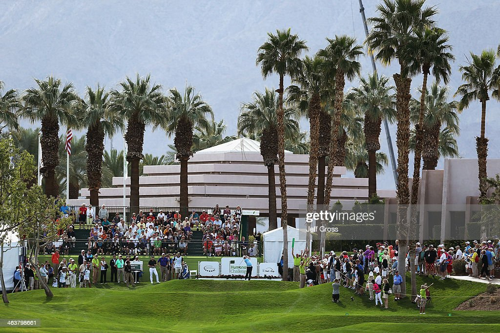 Justin Leonard hits a tee shot on the first hole during the final round of the Humana Challenge in partnership with the Clinton Foundation on the...