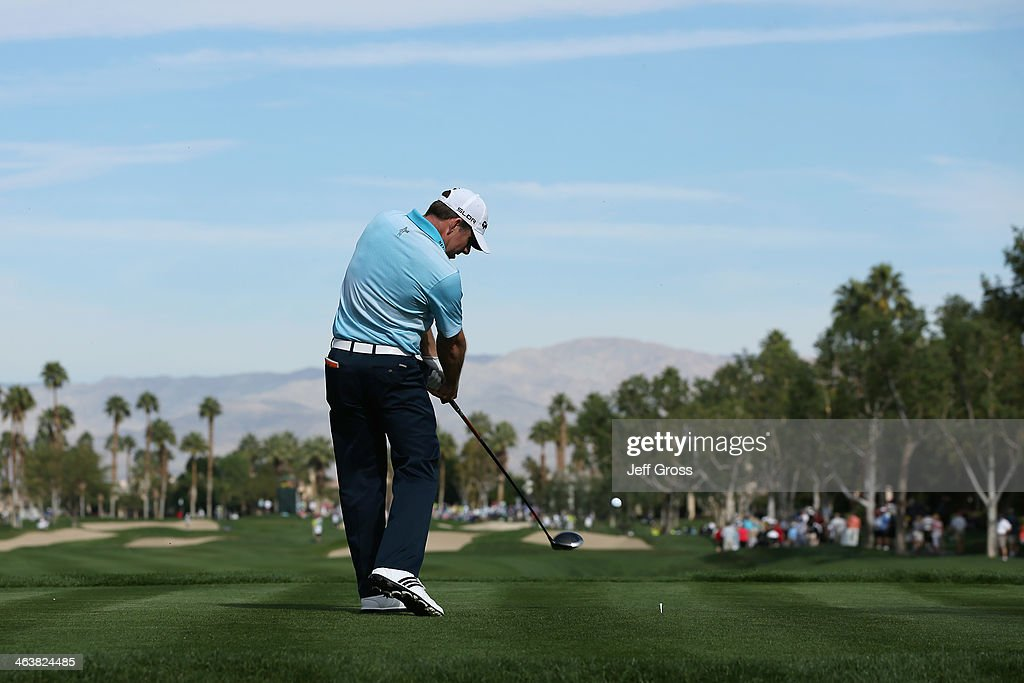 Justin Leonard hits a tee shot on the second hole during the final round of the Humana Challenge in partnership with the Clinton Foundation on the...