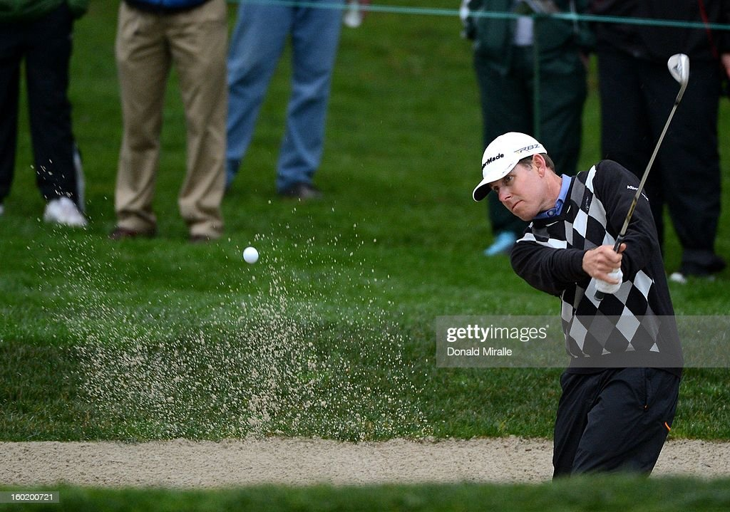 Justin Leonard hits out of the bunker during the Third Round at the Farmers Insurance Open at Torrey Pines South Golf Course on January 27, 2013 in La Jolla, California.