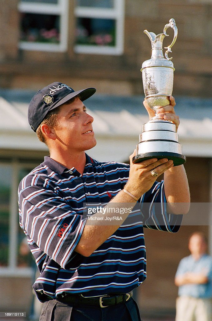 <a gi-track='captionPersonalityLinkClicked' href=/galleries/search?phrase=Justin+Leonard&family=editorial&specificpeople=194762 ng-click='$event.stopPropagation()'>Justin Leonard</a> of the USA holds the Claret Jug after his victory during the 1997 Open Championship held at Royal Troon Golf Club on July 20, 1997 in Gullane, Scotland.