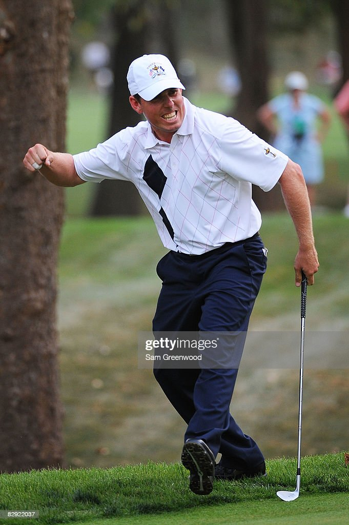 Justin Leonard of the USA team celebrates chipping in on the 15th hole during the afternoon four-ball matches on day one of the 2008 Ryder Cup at Valhalla Golf Club on September 19, 2008 in Louisville, Kentucky.