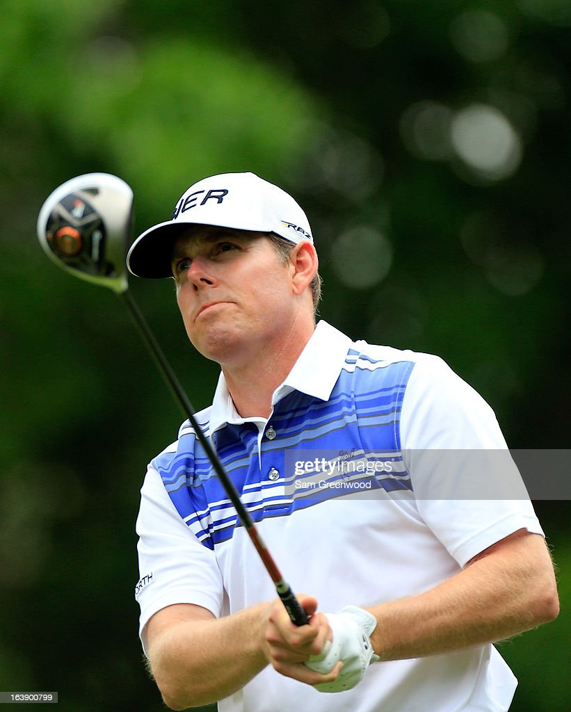Justin Leonard plays a shot on the 9th hole during the final round of the Tampa Bay Championship at the Innisbrook Resort and Golf Club on March 17, 2013 in Palm Harbor, Florida.