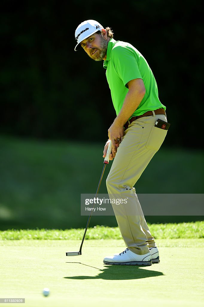 <a gi-track='captionPersonalityLinkClicked' href=/galleries/search?phrase=Justin+Leonard&family=editorial&specificpeople=194762 ng-click='$event.stopPropagation()'>Justin Leonard</a> reacts to a missed putt on the seventh hole during round two of the Northern Trust Open at Riviera Country Club on February 19, 2016 in Pacific Palisades, California.
