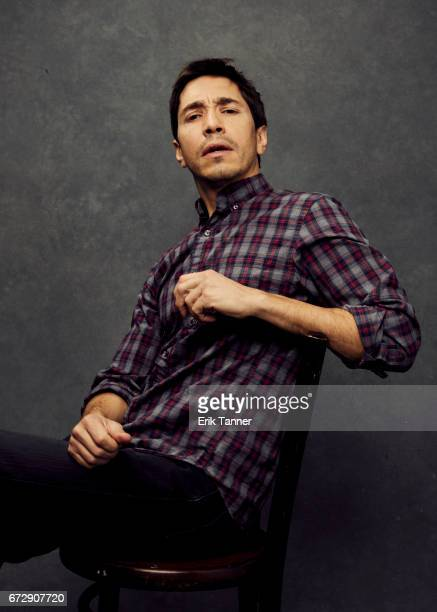 Justin Long from 'Literally Right Before Aaron' poses at the 2017 Tribeca Film Festival portrait studio on April 24 2017 in New York City