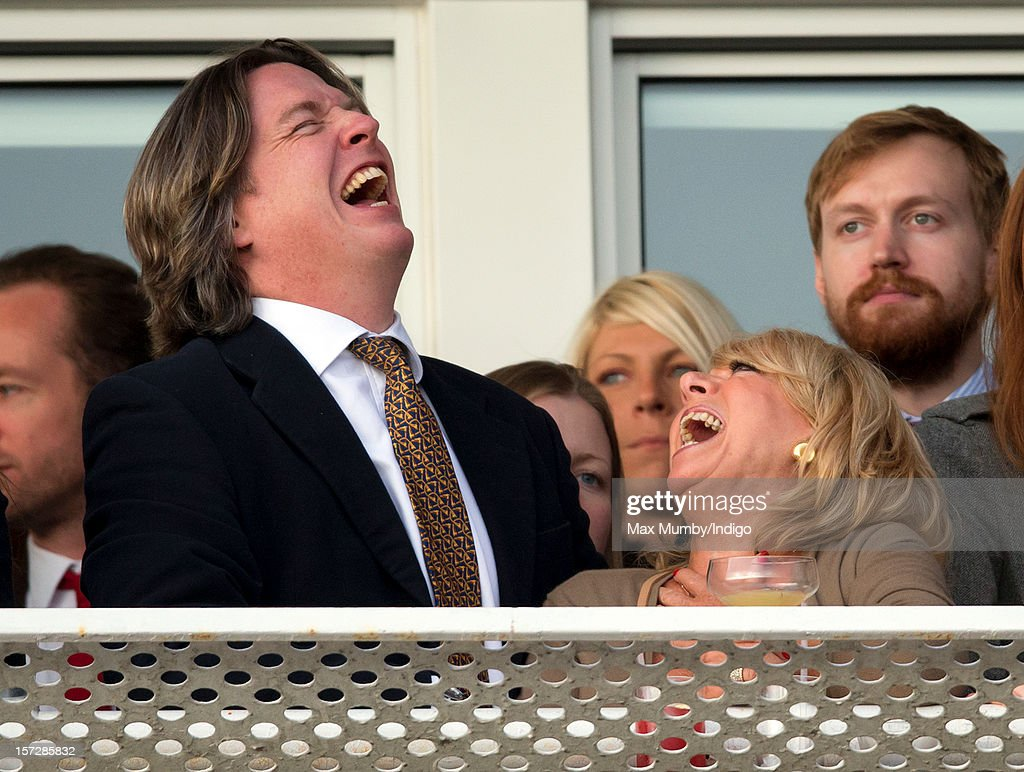 Justin Mallinson and <a gi-track='captionPersonalityLinkClicked' href=/galleries/search?phrase=Elaine+Paige&family=editorial&specificpeople=207114 ng-click='$event.stopPropagation()'>Elaine Paige</a> watch the racing as they attend the Hennessy Gold Cup at Newbury Racecourse on December 01, 2012 in Newbury, England.
