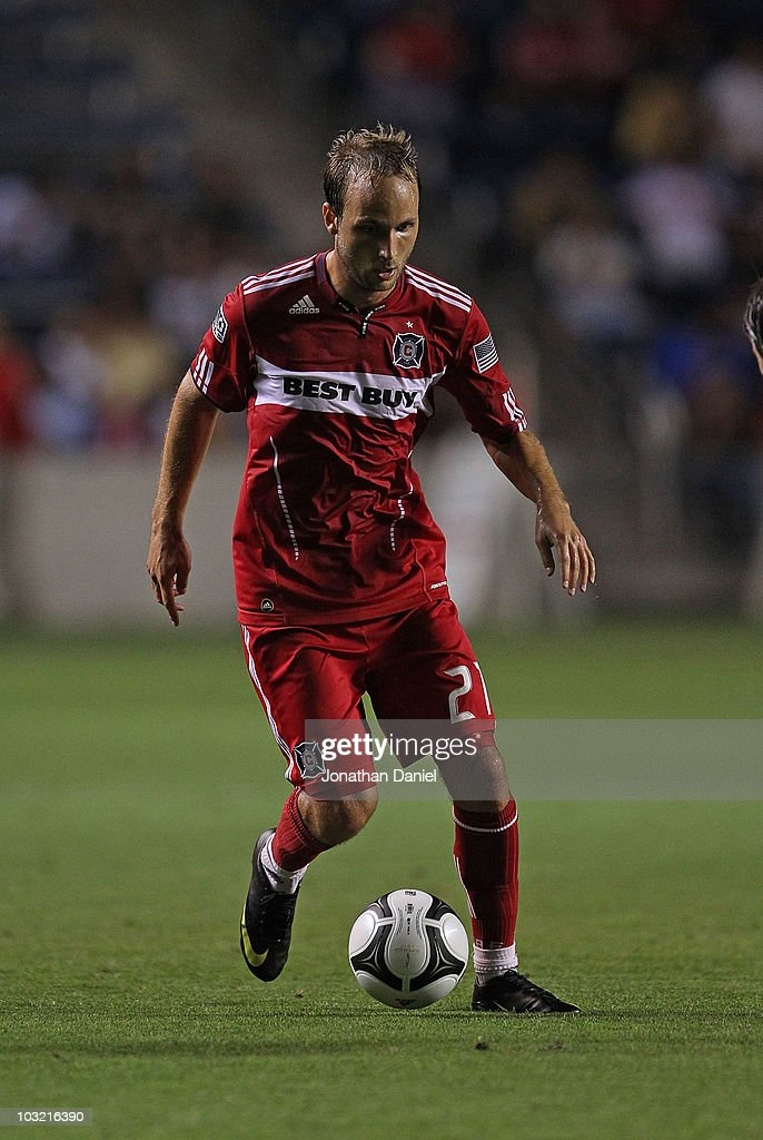 Justin Mapp of the Chicago Fire controls the ball against Pumas UNAM during a SuperLiga 2010 match at Toyota Park on July 20 2010 in Bridgeview...