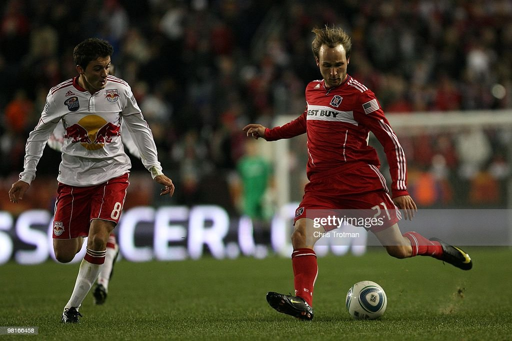 Justin Mapp of the Chicago Fire controls the ball from the New York Red Bulls during the match at Red Bull Arena on March 27 2010 in Harrison New...