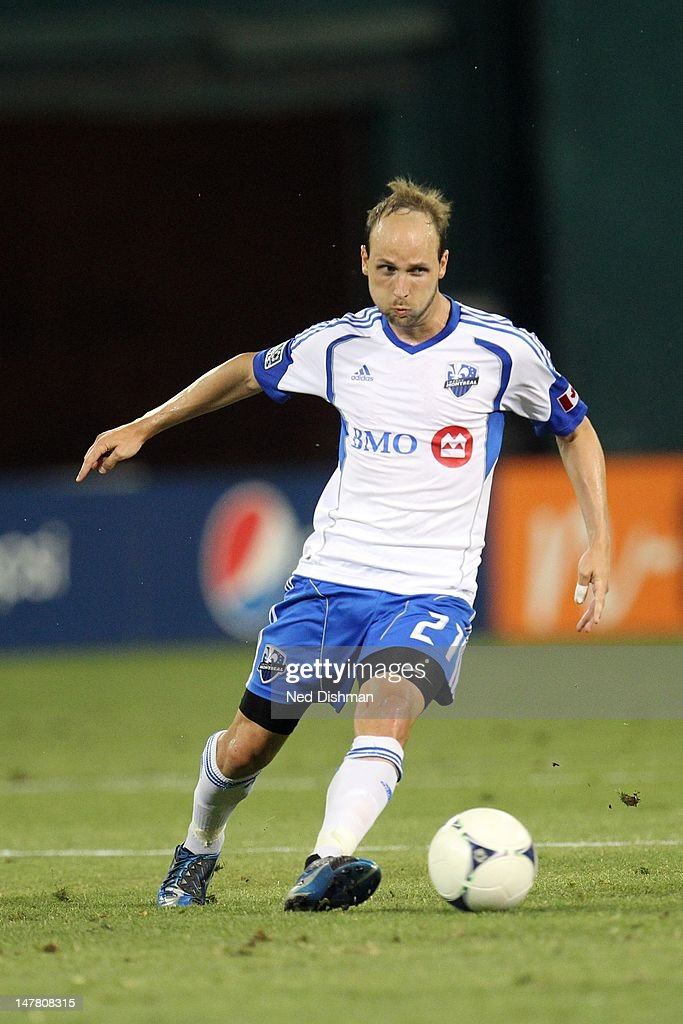 Justin Mapp of the Montreal Impact controls the ball against DC United at RFK Stadium on June 30 2012 in Washington DC DC United won 30