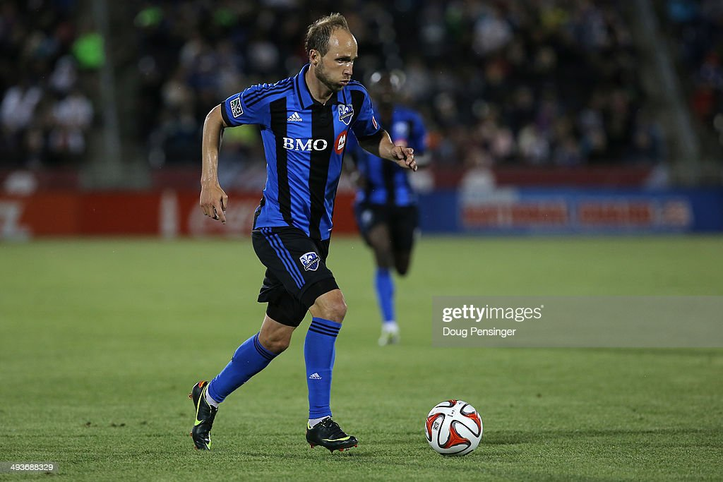 Justin Mapp of the Montreal Impact controls the ball against the the Colorado Rapids at Dick's Sporting Goods Park on May 24 2014 in Commerce City...