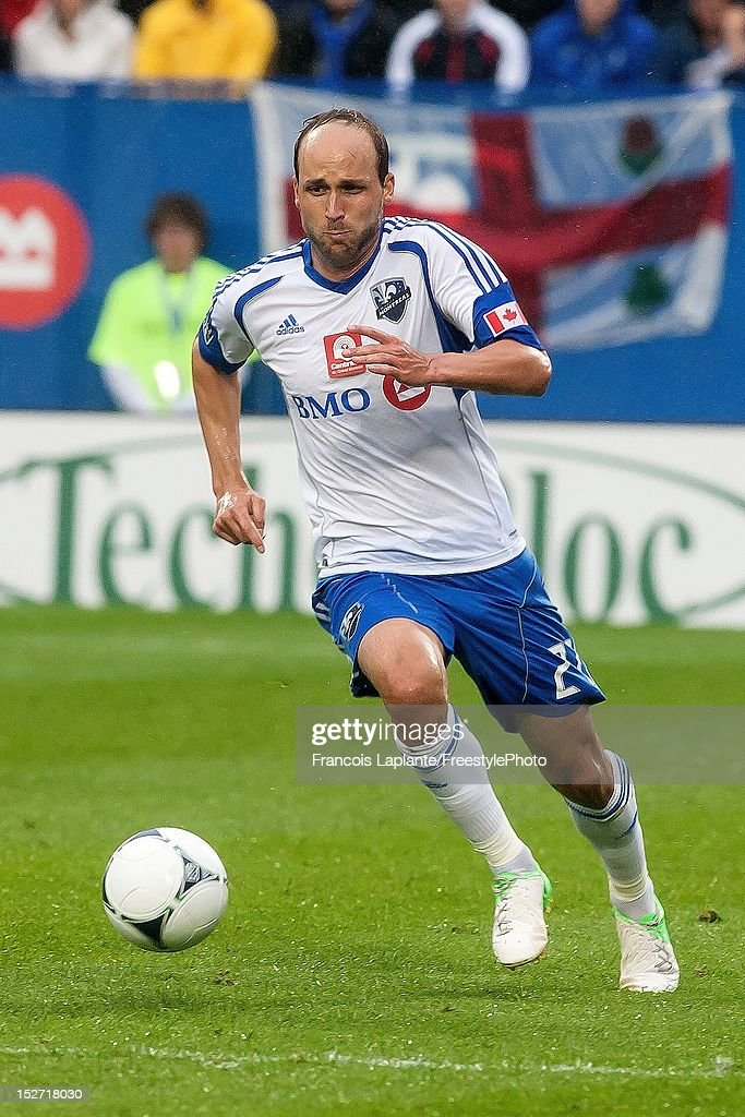 Justin Mapp of the Montreal Impact controls the ball during the MLS match against the Sporting KC at Saputo Stadium on September 22 2012 in Montreal...