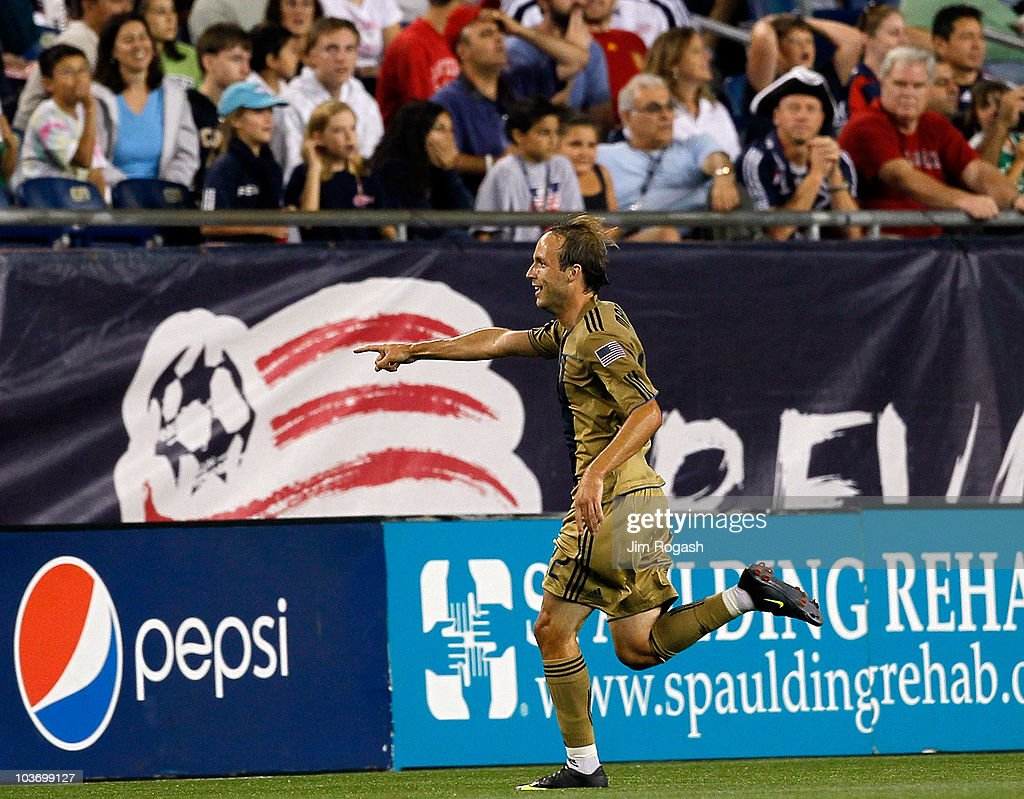 Justin Mapp of the Philadelphia Union reacts after he scored the winning goal against the New England Revolution at Gillette Stadium on August 28...