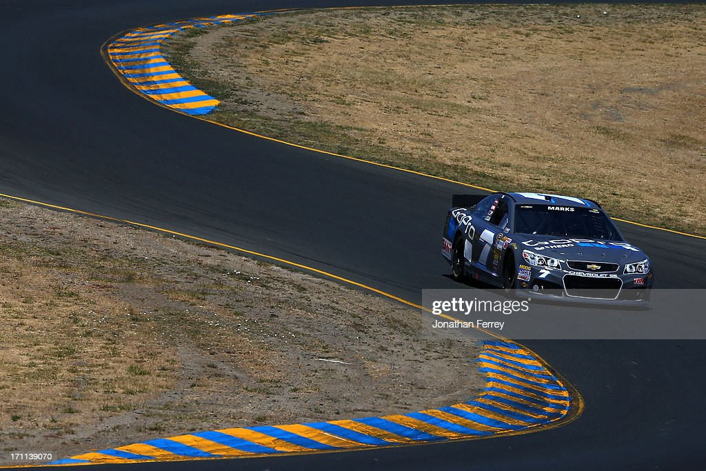Justin Marks, driver of the #7 GoPro Chevrolet, drives during qualifying for the NASCAR Sprint Cup Series Toyota/Save Mart 350 at Sonoma Raceway on June 22, 2013 in Sonoma, California.