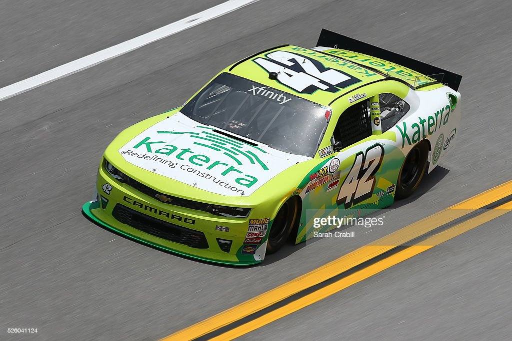 Justin Marks, driver of the #42 Katerra Chevrolet, practices for the NASCAR XFINITY Series Sparks Energy 300 at Talladega Superspeedway on April 29, 2016 in Talladega, Alabama.