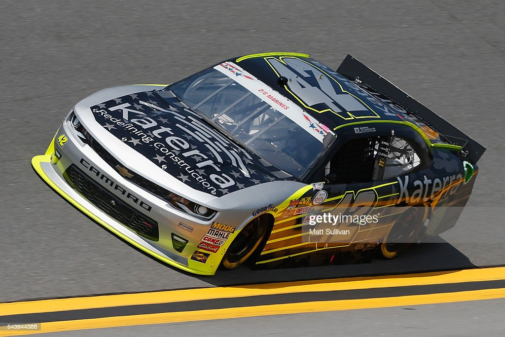 Justin Marks, driver of the #42 Katerra Chevrolet, practices for the NASCAR XFINITY Series Subway Firecracker 250 at Daytona International Speedway on June 30, 2016 in Daytona Beach, Florida.