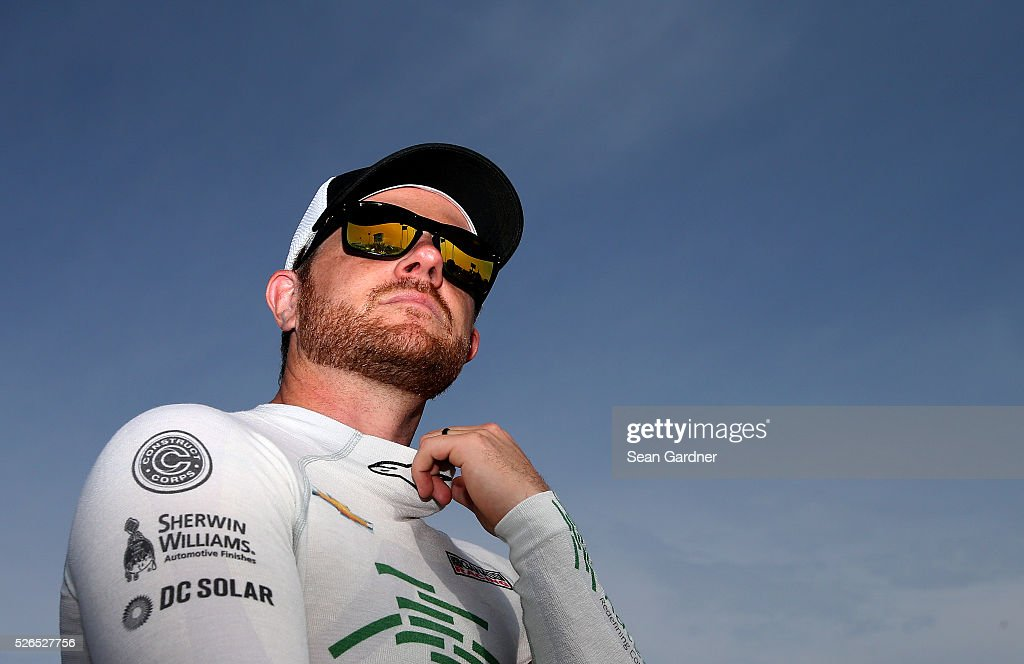Justin Marks, driver of the #42 Katerra Chevrolet, stands on the grid during qualifying for the NASCAR XFINITY Series Sparks Energy 300 at Talladega Superspeedway on April 30, 2016 in Talladega, Alabama.