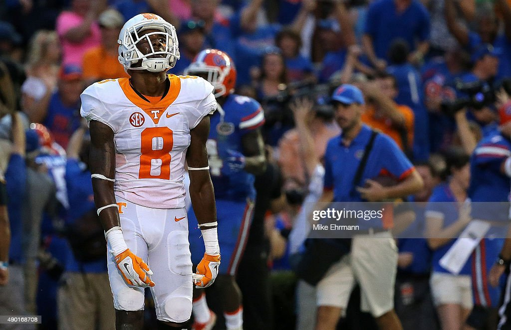 Justin Martin of the Tennessee Volunteers reacts after losing a game against the Florida Gators at Ben Hill Griffin Stadium on September 26 2015 in...