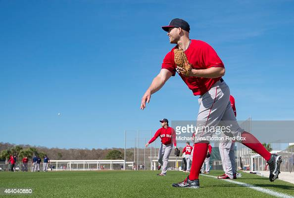 Justin Masterson of the Boston Red Sox throws during a Spring Training workout at Fenway South on February 21 2015 in Fort Myers Florida
