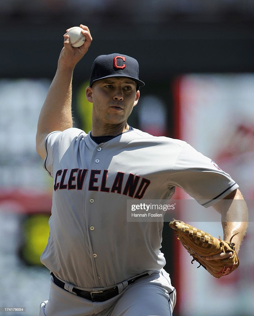 Justin Masterson #63 of the Cleveland Indians delivers a pitch against the Minnesota Twins during the first inning of the game on July 21, 2013 at Target Field in Minneapolis, Minnesota.