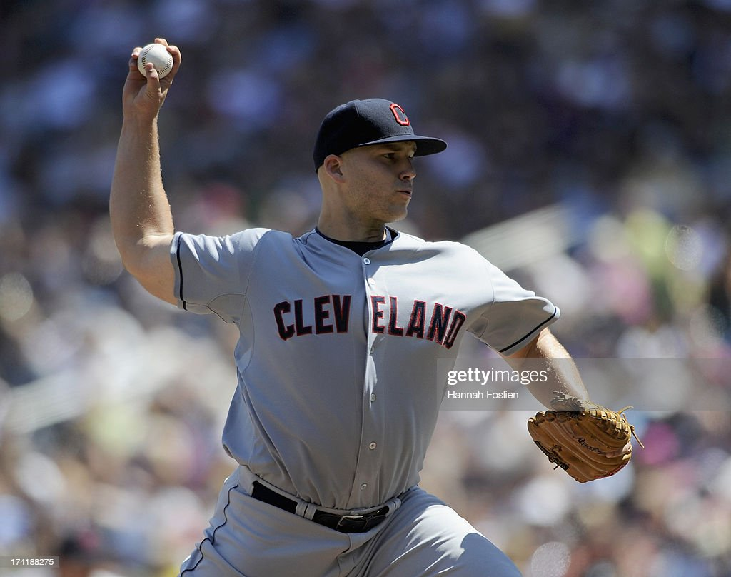 <a gi-track='captionPersonalityLinkClicked' href=/galleries/search?phrase=Justin+Masterson&family=editorial&specificpeople=4950538 ng-click='$event.stopPropagation()'>Justin Masterson</a> #63 of the Cleveland Indians delivers a pitch against the Minnesota Twins during the sixth inning of the game on July 21, 2013 at Target Field in Minneapolis, Minnesota. The Indians defeated the Twins 7-1.