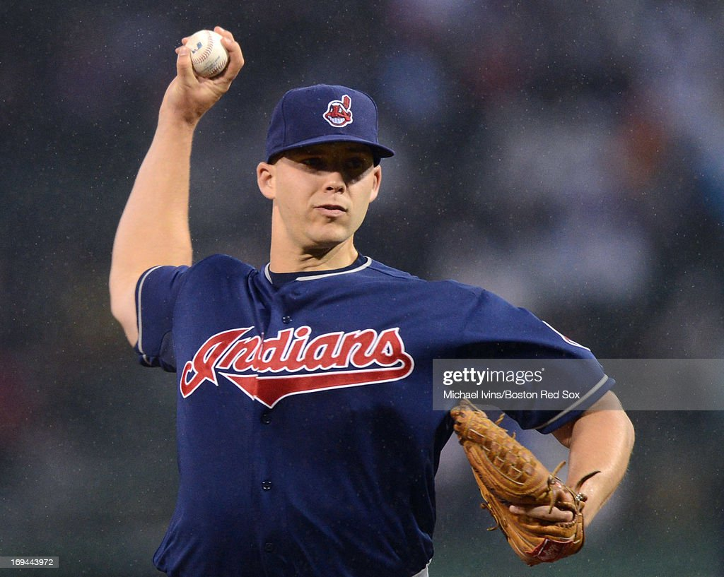 <a gi-track='captionPersonalityLinkClicked' href=/galleries/search?phrase=Justin+Masterson&family=editorial&specificpeople=4950538 ng-click='$event.stopPropagation()'>Justin Masterson</a> #63 of the Cleveland Indians pitches against the Boston Red Sox in the first inning on May 24, 2013 at Fenway Park in Boston, Massachusetts.