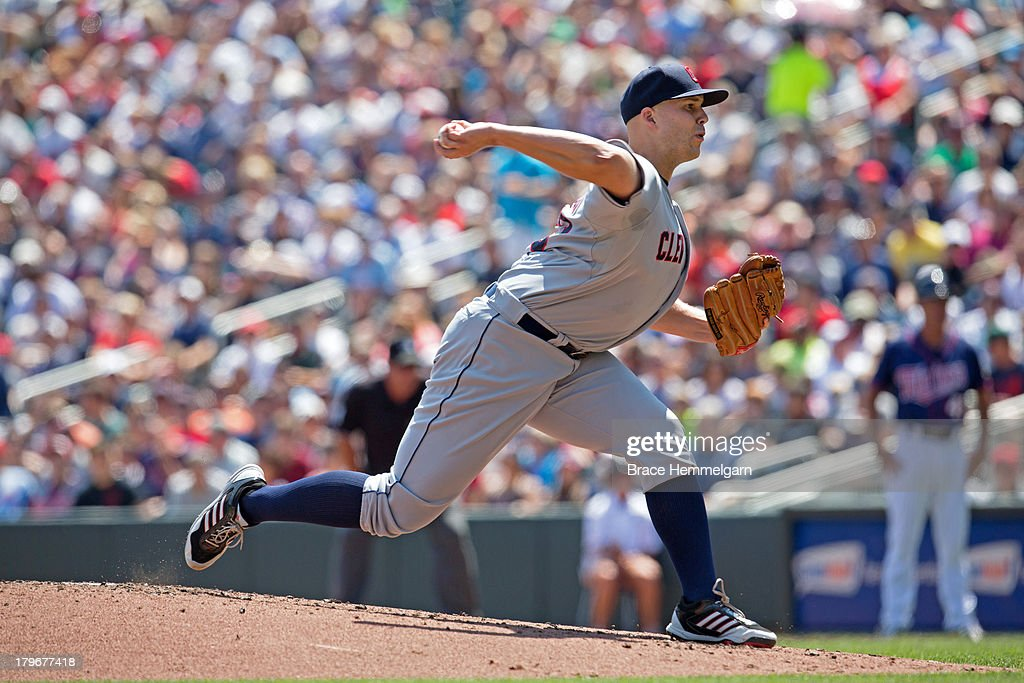 <a gi-track='captionPersonalityLinkClicked' href=/galleries/search?phrase=Justin+Masterson&family=editorial&specificpeople=4950538 ng-click='$event.stopPropagation()'>Justin Masterson</a> #63 of the Cleveland Indians pitches against the Minnesota Twins on July 21, 2013 at Target Field in Minneapolis, Minnesota. The Indians defeated the Twins 7-1.