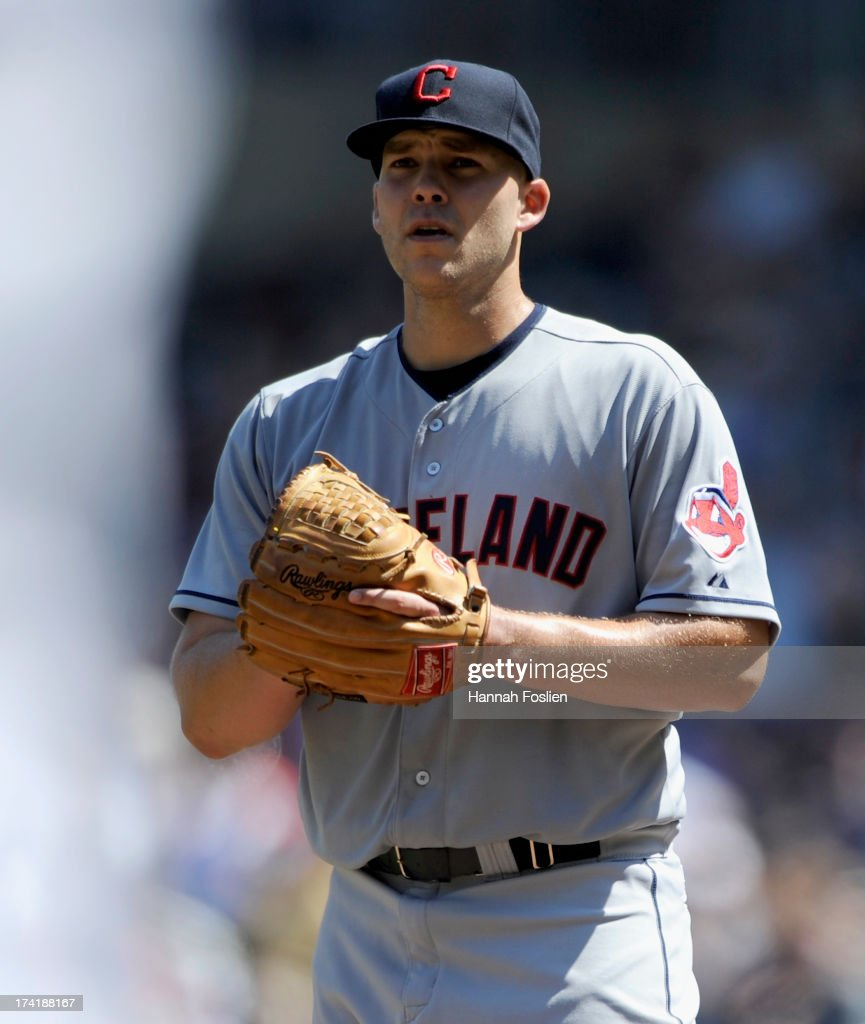 <a gi-track='captionPersonalityLinkClicked' href=/galleries/search?phrase=Justin+Masterson&family=editorial&specificpeople=4950538 ng-click='$event.stopPropagation()'>Justin Masterson</a> #63 of the Cleveland Indians reacts to giving up a double to Brian Dozier #2 of the Minnesota Twins during the seventh inning of the game on July 21, 2013 at Target Field in Minneapolis, Minnesota. The Indians defeated the Twins 7-1.